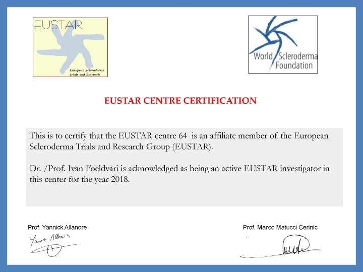 EUSTAR centre certificate 2018