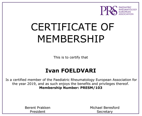 Certificate of Membership Paediatric Rheumatology European Association 2019