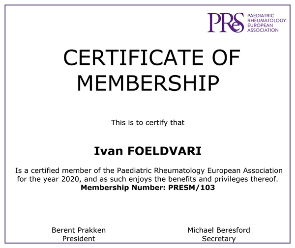 Certificate of Membership Paediatric Rheumatology European Association 2020